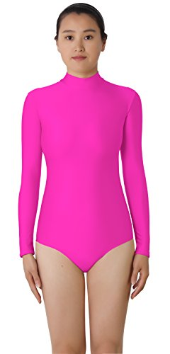 JustinCostume Women's High Neck Long Sleeved Spandex Leotard Bodysuit, S, Pink by JustinCostume