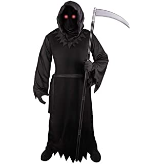 Grim Reaper Costume for Kids with Light Up Red Eyes (Medium)