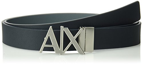 Armani Exchange Men's Leather Logo Hinge Belt Accessory, -blue navy/grey, - Men Armani
