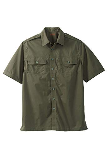 Boulder Creek Men's Big & Tall Short Sleeve Pilot Shirt, Olive Big-3XL