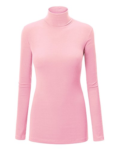 WT950 Womens Long Sleeve Rib Turtleneck Top Pullover Sweater S Pink ()