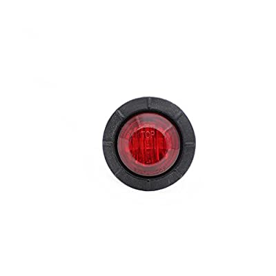 Meerkatt (Pack of 10) 3/4 Inch Mini Small Round Red LED Side Marker Clearance Lamp Universal Indicator SMD Light black rubber grommets Tow Truck Lorry ATV Ferry Boat Trailer Bus RV Waterproof 12V DC: Automotive