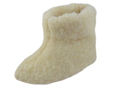Auténtica Unisex lana invierno patucos zapatillas con suela de piel