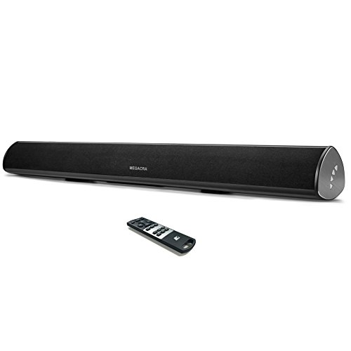 Soundbar, 60 Watt 34-Inch MEGACRA Sound Bar Wired and Wireless Bluetooth Audio Speakers for TV ( Home Theater 3D Surround Sound System, Remote Control, Optical Coaxial RCA AUX Input, Wall Mount)