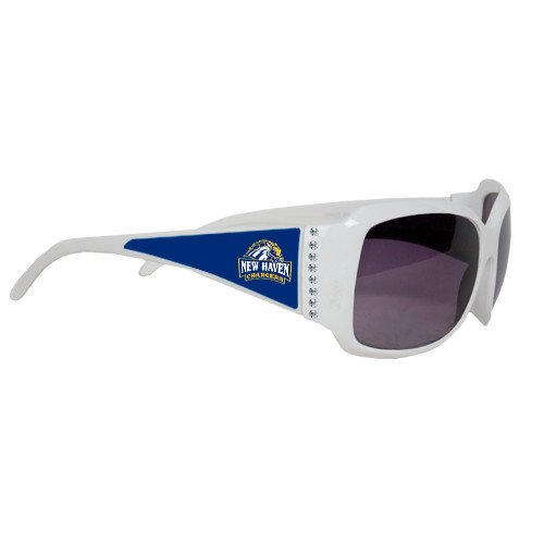New Haven Ladies White Rhinestone Sunglasses 'Official Logo' by CollegeFanGear