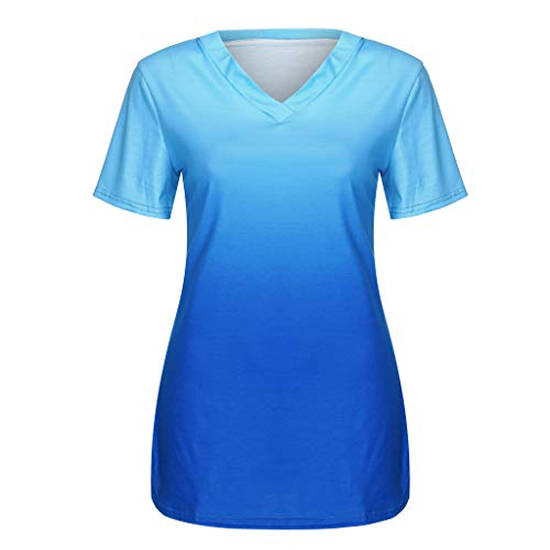 TnaIolral Women Tops Short Sleeve V-Neck Gradient Colour Loose Tee T-Shirt Blue by TnaIolral (Image #2)