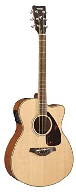 Yamaha FGX700SC Solid Top Acoustic-Electric Guitar, Natural, with Case, Picks, Tuner, Strings, Capo, String Winder & Cutter, and Strap
