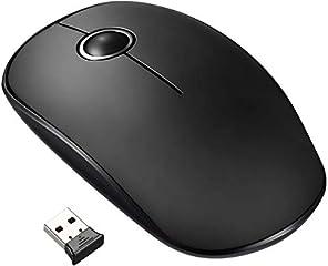 VicTsing Mouse Wireless Silenzioso ed Ultrasottile, Durata della Batteria 24 Mesi, con ricevitore nano, 2.4G, 1600 DPI, Nero
