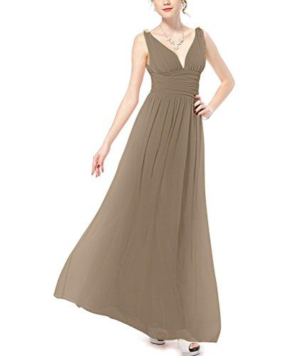 Evening V Elegant Maxi Chiffon Long Neck Women's Bridal Brown Dress Aurora xBqt68n
