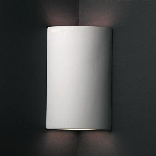 Justice Design Group Lighting CER-1885-BIS Justice Design Group - Ambiance Collection - Cylinder Corner Wall Sconce - Bisque Finish Unfinished -