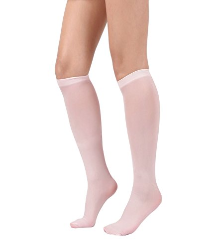 Women's Semi Opaque Knee High Trouser Sock 3pair / 6pair (One Size : XS to M, 3pair-Lt Pink)