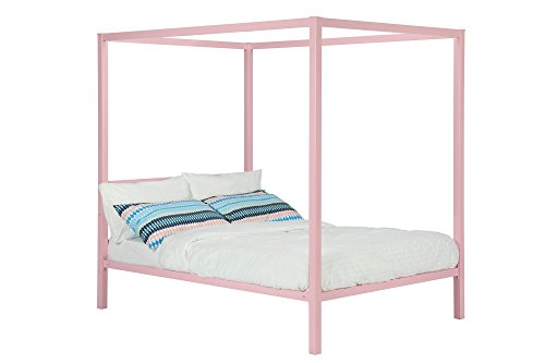 DHP Modern Metal Canopy Bed, Full, Pink