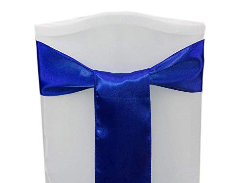 (mds Pack of 50 Satin Chair Sashes Bow sash for Wedding and Events Supplies Party Decoration Chair Cover sash -Royal Blue)