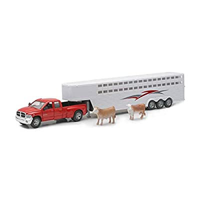 New Ray Dodge Ram 3500 Truck Fifth Wheel with Horse Trailer and 2 Cows: Toys & Games