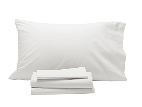 Coyuchi 220 TC Organic Percale Sheet Set, Queen, Alpine White (Percale Coyuchi Organic Sheet)