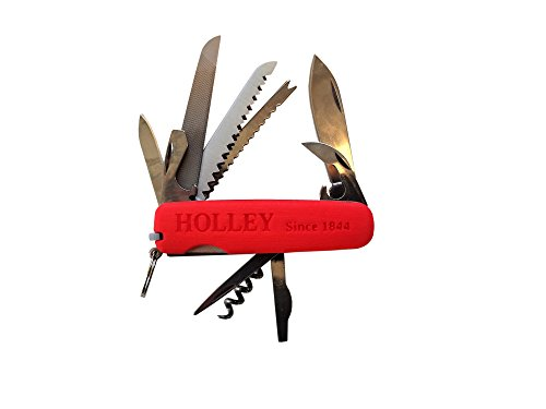 HOLLEY Pocket Knife Multi-tool MOD14 with Red-orange 3D Printed Plastic Scales (the sides) by Holley Knives