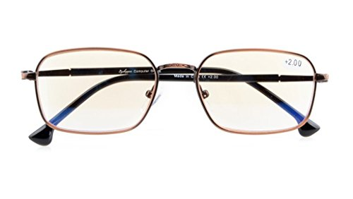 Visionkr UV Protection,Anti Blue Rays,Reduce Eyestrain,Spring Hinges,Computer Reading Glasses(Bronze,Amber Tinted Lenses) +0.5 (Tinted Bronze Lens)