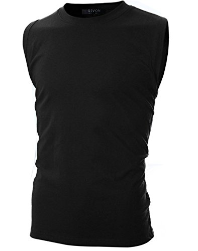 Crew Neck Sleeveless T-Shirt with Multicoloured /DCT039-BLACK-L ()