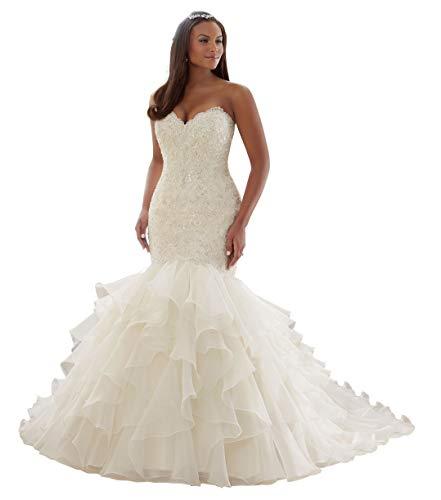 Wanshaqin Women's Mermaid Sweetheart Strapless Beaded Wedding Dress for Brides Organza Ruffled Bridal Gowns Plus Size Ivory