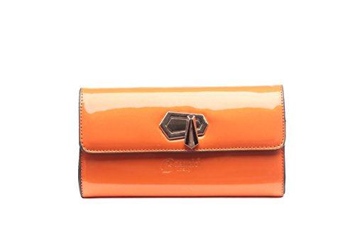Le Simplice: Gold Medal Clasped Sharp Cut Trim Purse | Handmade & Hand Designed Handbag | 3D Laser Cut Accents | Vintage Hollywood Style (Orange Wallet)