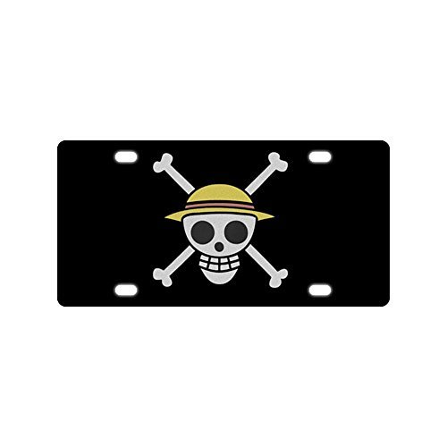 Panda custom license plate print One Piece Anime license plate cover Metal Car Tag Auto Tag for christmas gift (Anime License Plate)