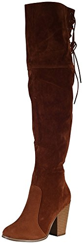 (Chase & Chloe Women's Over The Knee Thigh High Suede Chunky Heel Boot (8 M US, Tan))