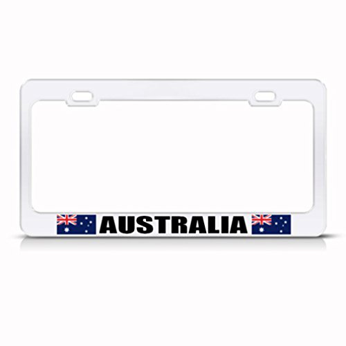 Australia Flag License Plate - Speedy Pros Australia Australian Flag White Country Metal License Plate Frame Tag Holder