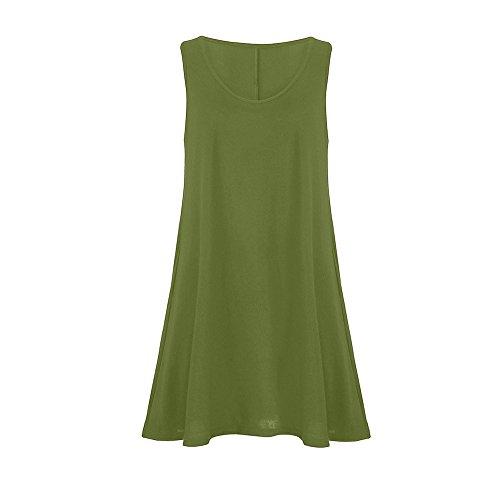 Gogoodgo ❤️Women's Sleeveless Vest Dress for Women, Ladies Pure O-Neck Swing Peplum Dress Simple Skin Friendly Camis Dress Green ()