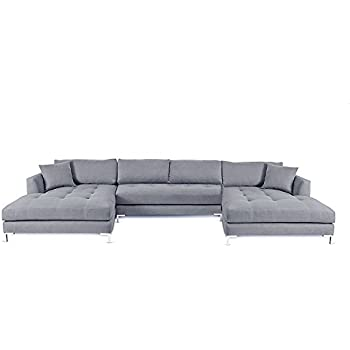 Decenni Divina Ll Modern Double Chaise U Shaped Sectional Silver