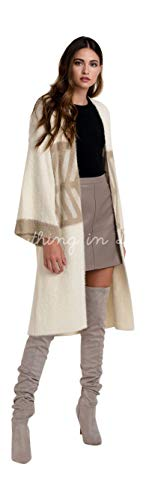 Do Everything in Love Color Ivory Graphic Angora Look Cardigan Coat Sweater One Size