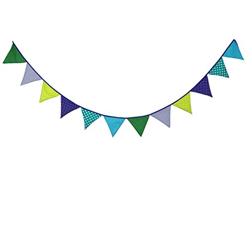 Multi Colored Fabric Bunting For Party Birthday Wedding Anniversary Celebration Baby Shower(Green & Blue) ()