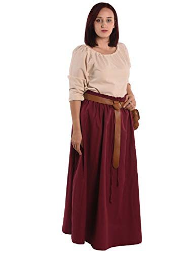 - Isolde Womens Medieval Renaissance Peasant Skirt and Blouse Set, BRG-XXXL Burgundy