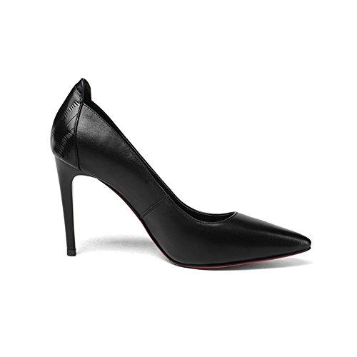 Pohja Naisten Korkokengät Musta Yhdeksän Kengät Pumput Mekko Muoti Teräväkärkiset Käsityönä Punainen Seitsemän TRqqxw6