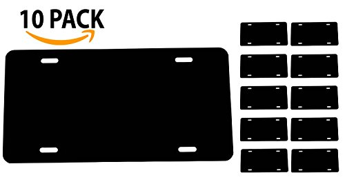 BLACK [10-PACKS] Blank Aluminum License Plate - 0.025 Thickness/0.5mm - US/Canada Size 12x6