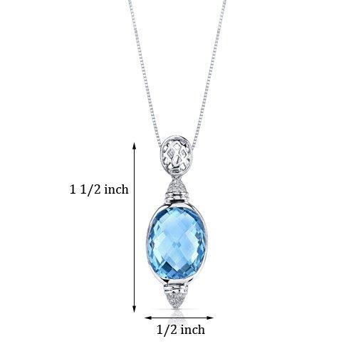 Revoni 14ct or blanc 585/1000 double Damier Coupe 11.00 carats Suisse topaze bleue Pendentif diamant
