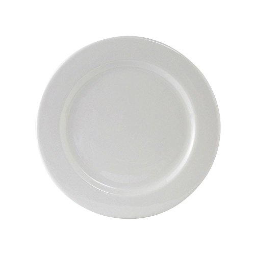 Tuxton ALA-120 Vitrified China Alaska Plate, Wide Rim, Rolled Edge, 12