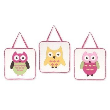 Three Piece Pink Green Yellow White Baby Owl Plush Wall Art Set, Nursery Woodland Themed Hanging Decor, Infant Forest Animal Nature Wild Kids Cute Adorable Childrens Home Accent, Cotton