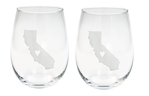 About Face Designs 186726 Featuring a Frosted Silhouette This 16 oz Comes Packaged in an attr California State of Mine Silver Tone Foil Stamped 19 Ounce Set of 2 Stemless Wine Glasses, Clear