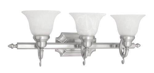 Livex Lighting 1283-91 Bath Vanity with White Alabaster Glass Shades, Brushed (Regency 3 Light Vanity)