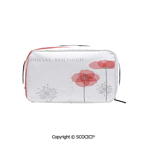 Printed Poppies Modern (Printed Makeup Bag Organizer toiletry bags Modern Poppy Flower Buds Abstract Shadow Design Image Rectangle Cosmetic Bags for Girls Ladies)