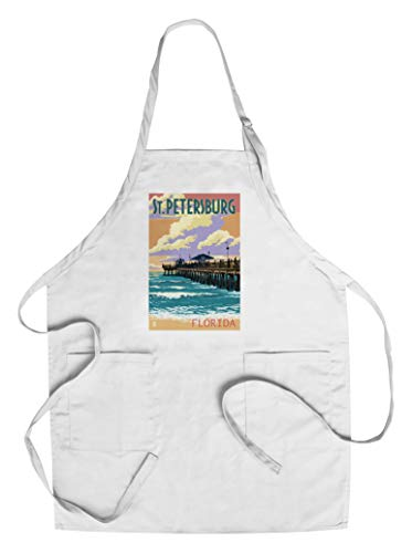 St Petersburg, Florida - Pier and Sunset (Cotton/Polyester Chef's Apron)