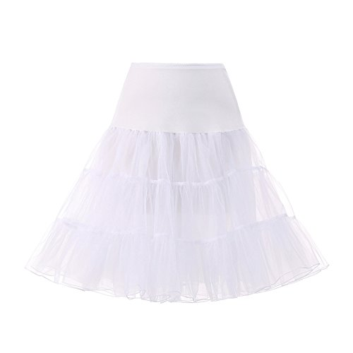 AW 1950s Vintage Petticoat Skirts Plus Size Wedding Crinoline Underskirt Slips Tutu for Women, X-Large White