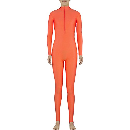 [Muka Adult Zentai Spandex Polo Neck Unitard Supersuit Costume Dancewear - Orange,M] (Morph Suit Costumes Ideas)