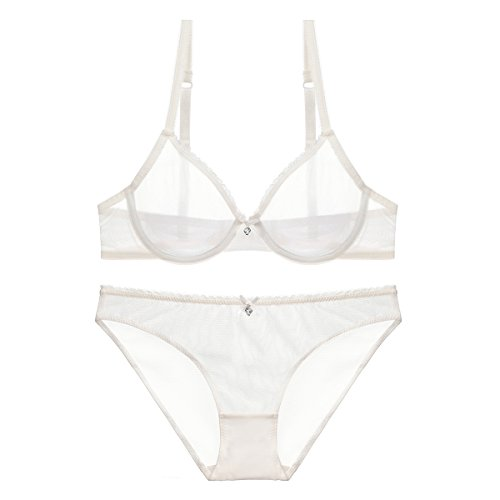 Women See-Through Lace Push Up Transparent Sheer Bras for Women (N279, 34D, White)