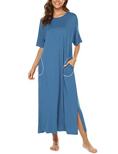 - URRU Cotton Knit Short Sleeve Nightgown for Women Full Length Sleep Dress with Pockets Blue XXL