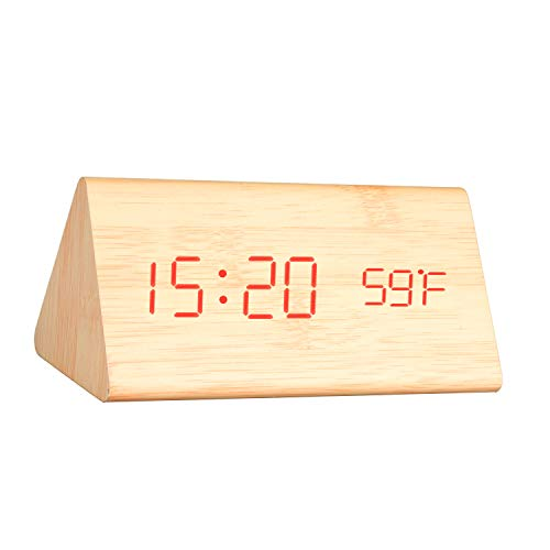K Kwokker Digital Clock for Heavy Sleepers Wooden Alarm Clock Battery Powered with USB Charging Port Multi-Function Modern LED Light, Portable Wooden Clocks for Bedroom, Living Room, School and Travel