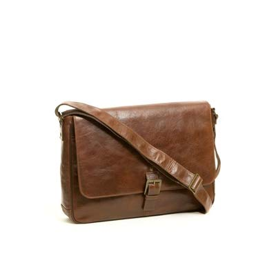Boconi Becker Buckle RFID Messenger (Whiskey w/Khaki and Gingham)