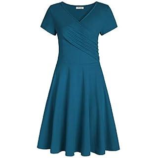 Pintage Women's Surplice V Neck Knee Length Wrap Dress 3X Teal