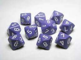 - Chessex Dice Sets: Opaque Purple with White - Ten Sided Die d10 Set (10)