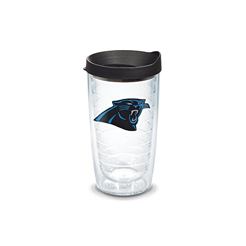Tervis 1032291 NFL Carolina Panthers Primary Logo Tumbler with Emblem and Black Lid 16oz, Clear